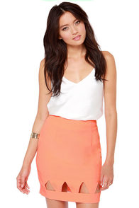 Point Blank Cutout Coral Skirt at Lulus.com!