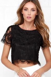 Happy as a Glam Black Lace Crop Top at Lulus.com!