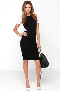 Exact Elegance Ivory and Black Bodycon Midi Dress at Lulus.com!