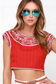 Billabong Chica Amiga Red Embroidered Crop Top at Lulus.com!