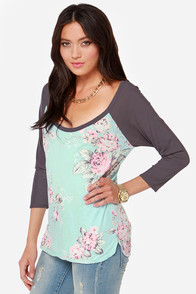 Chaser Here Rose Nothing Light Blue Floral Print Top at Lulus.com!