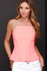 Wyldr Grace Neon Coral Strapless Top at Lulus.com!