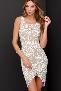 Ladakh Porcelain Beige and Ivory Lace Dress at Lulus.com!