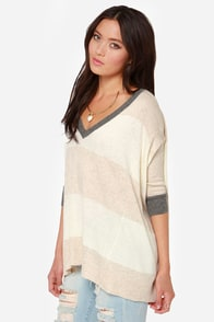 As Good as it Knits Ivory and Tan Striped Sweater at Lulus.com!