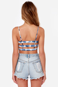 Billabong Lil Seashell Blue Tie-Dye Bustier Top at Lulus.com!
