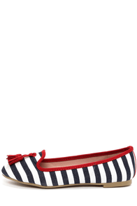Good Choice Dorothy Navy and Cherry Red Striped Tassel Loafers at Lulus.com!