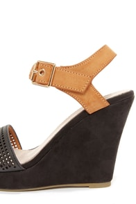 Good Choice Most Wanted Black and Tan Single Strap Wedges at Lulus.com!