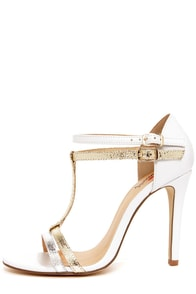 Luichiny Day Glow White, Gold, and Silver T-Strap Heels