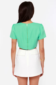 Get to the Point Cutout Mint Green Crop Top at Lulus.com!