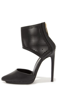 Cuff 'Em Black Perforated Ankle Cuff Heels at Lulus.com!