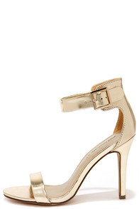 Enjoy the Show Gold Ankle Strap Heels at Lulus.com!