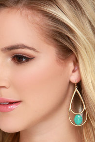 Chic Discovery Gold and Turquoise Earrings at Lulus.com!