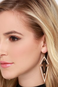 What's Your Tri-Angle? Black and Ivory Beaded Earrings at Lulus.com!