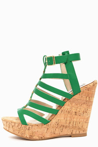 Steve Madden Indyanna Green Platform Wedge Sandals at Lulus.com!