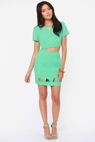 Point Blank Cutout Mint Green Skirt at Lulus.com!