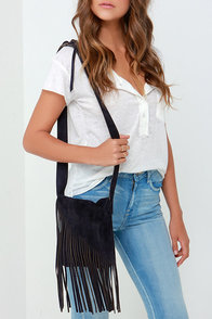 So They Suede Navy Blue Leather Fringe Purse