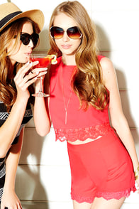 Lace is On Coral Red Lace Shorts at Lulus.com!