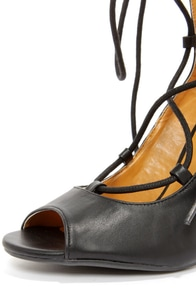 Shoe Republic LA Helice Black Lace-Up High Heels at Lulus.com!