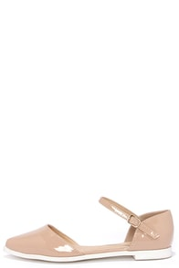 Patent Pending Nude Patent Pointed Ankle Strap Flats at Lulus.com!