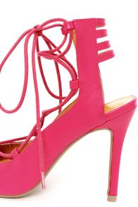 Shoe Republic LA Helice Fuchsia Lace-Up High Heels at Lulus.com!