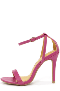 Shoe Republic LA Najana Berry Purple Ankle Strap Heels