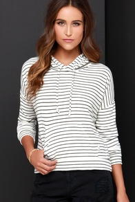 Obey Lowell Black and Ivory Striped Hooded Sweater at Lulus.com!