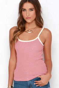 Obey Parker Cream and Red Striped Tank Top at Lulus.com!