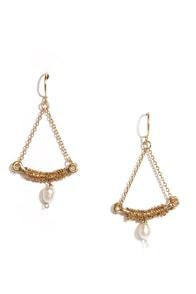 Swing Sweetly Gold Pearl Earrings at Lulus.com!