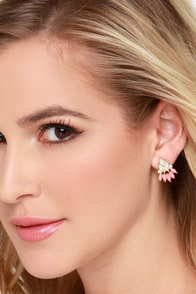 Jewels and Gems Pink Rhinestone Earrings at Lulus.com!