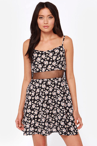 Born to be Wildflower Black Floral Print Babydoll Dress at Lulus.com!