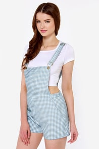 Picnic in the Park Blue Checkered Overalls at Lulus.com!