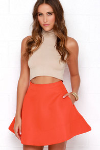 Corner Cafe Coral Red Skirt at Lulus.com!