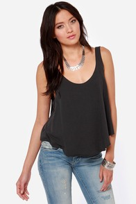 RVCA Label Drape Washed Black Tank Top at Lulus.com!