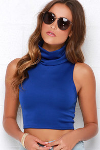 Neck Yes Blue Crop Top at Lulus.com!