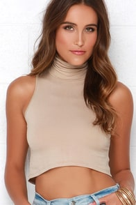 Street Smart Beige Turtleneck Crop Top at Lulus.com!