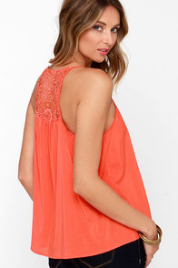 Bountiful Orange Lace Tank Top at Lulus.com!