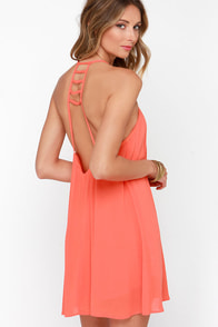 Afternoon Outing Coral Orange Swing Dress at Lulus.com!