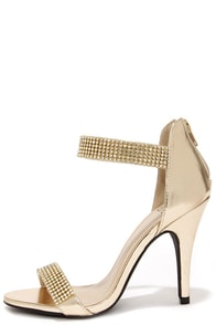 Bling on the Night Light Gold Rhinestone Ankle Strap Heels at Lulus.com!