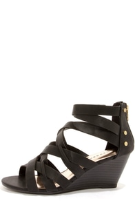 Madden Girl Hiighfiv Black Strappy Peep Toe Wedges