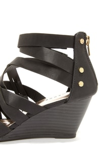 Madden Girl Hiighfiv Black Strappy Peep Toe Wedges at Lulus.com!