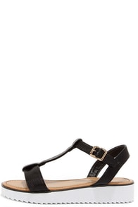 Sun Kind of Wonderful Black T-Strap Sandals at Lulus.com!