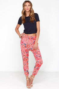 Billabong Turn It Loose Coral Red Floral Print Pants at Lulus.com!