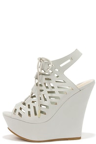 Scissor Kicks Light Grey Cutout Platform Wedges at Lulus.com!