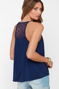 Bountiful Navy Blue Lace Tank Top at Lulus.com!