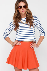 Ice Cream Sundays Orange Knit Skater Skirt at Lulus.com!
