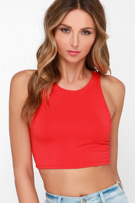 For Sienna Crop Notch Red Crop Top at Lulus.com!