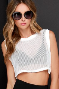 Network It Ivory Mesh Crop Top at Lulus.com!
