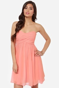 Right This Sway Strapless Peach Dress