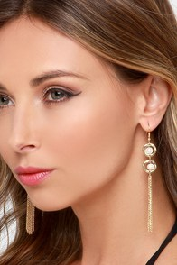 Pure Bliss Gold and Pearl Earrings at Lulus.com!