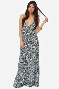 All Directions Navy Blue Floral Print Maxi Dress
